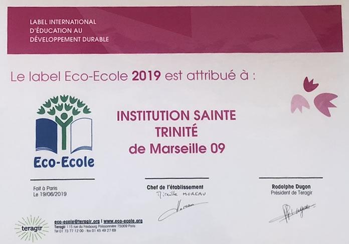 Label Eco-Ecole de Sainte Trinité